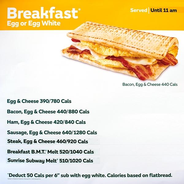 Menu for subway breakfast